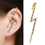 Gold Plated Micro Pave Rainbow CZ Lightning Bolt Ear Cuff Earring