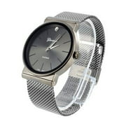 Mens Geneva Watch With Mesh Band Platinum Luxury Style Elegant Space Grey Look