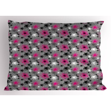 Hot Pink Floral Printed - Vintage Floral Pillow Sham Vibrant Colored Free Hand Drawing Style Blossoms Antique Retro, Decorative Standard Size Printed Pillowcase, 26 X 20 Inches, Hot Pink Black Grey, by Ambesonne