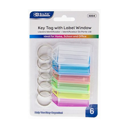 Wholesale Keychains Bulk (New 402819   Key Tags With Holder  Label Window 6 / Pack (24-Pack) Keychain Cheap Wholesale Discount Bulk Stationery Keychain)