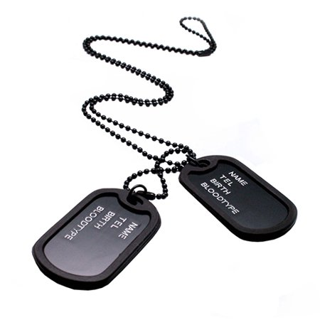 - HiCoup Military Army Style Black 2 Dog Tags Pendant Sweater Chain Necklace Men's Jewelry