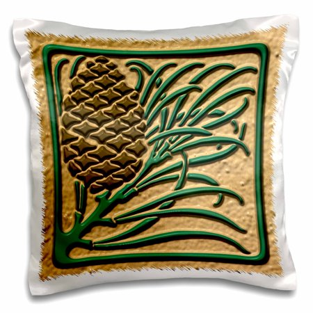 - 3dRose Photo of Art Nouveau Pine Cone Tile Design- Flat 2D Image not embossed - Pillow Case, 16 by 16-inch