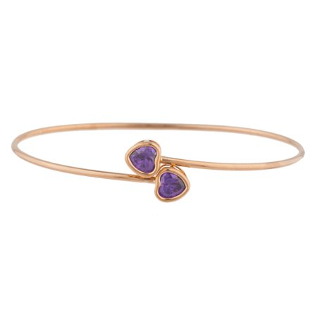 14Kt Rose Gold Plated Amethyst Heart Bezel Bangle Bracelet