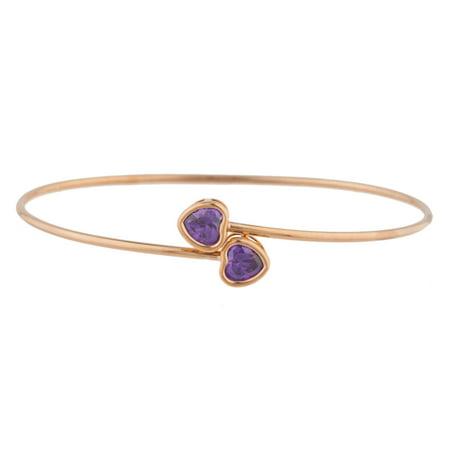 14Kt Rose Gold Plated Amethyst Heart Bezel Bangle Bracelet 14k Rose Gold Bangle Bracelet