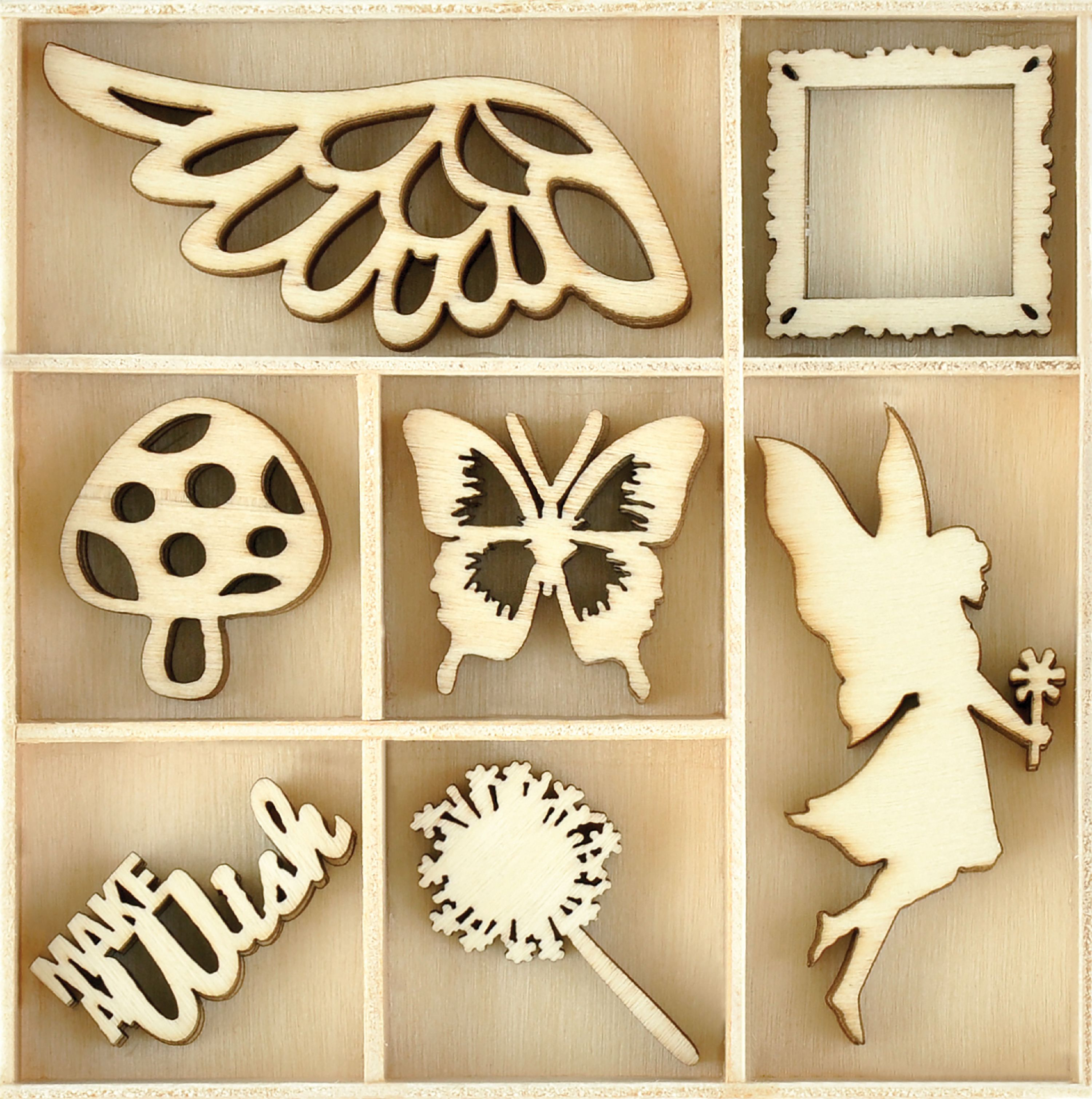 Themed Mini Wooden Flourishes 35/Pkg-Make A Wish - image 1 of 1