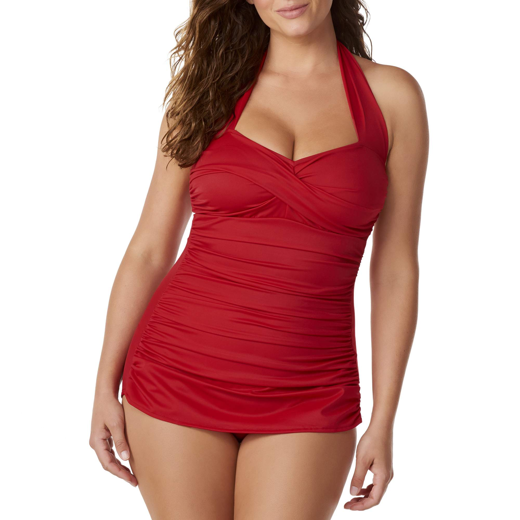 Simply Slim Womens Slimming Shirred Halter One-Piece Swimsuit