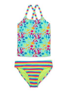 Wonder Nation Girls Cross-Back Printed Tankini Swimsuit (Big Girls & Little Girls, Girls Plus)