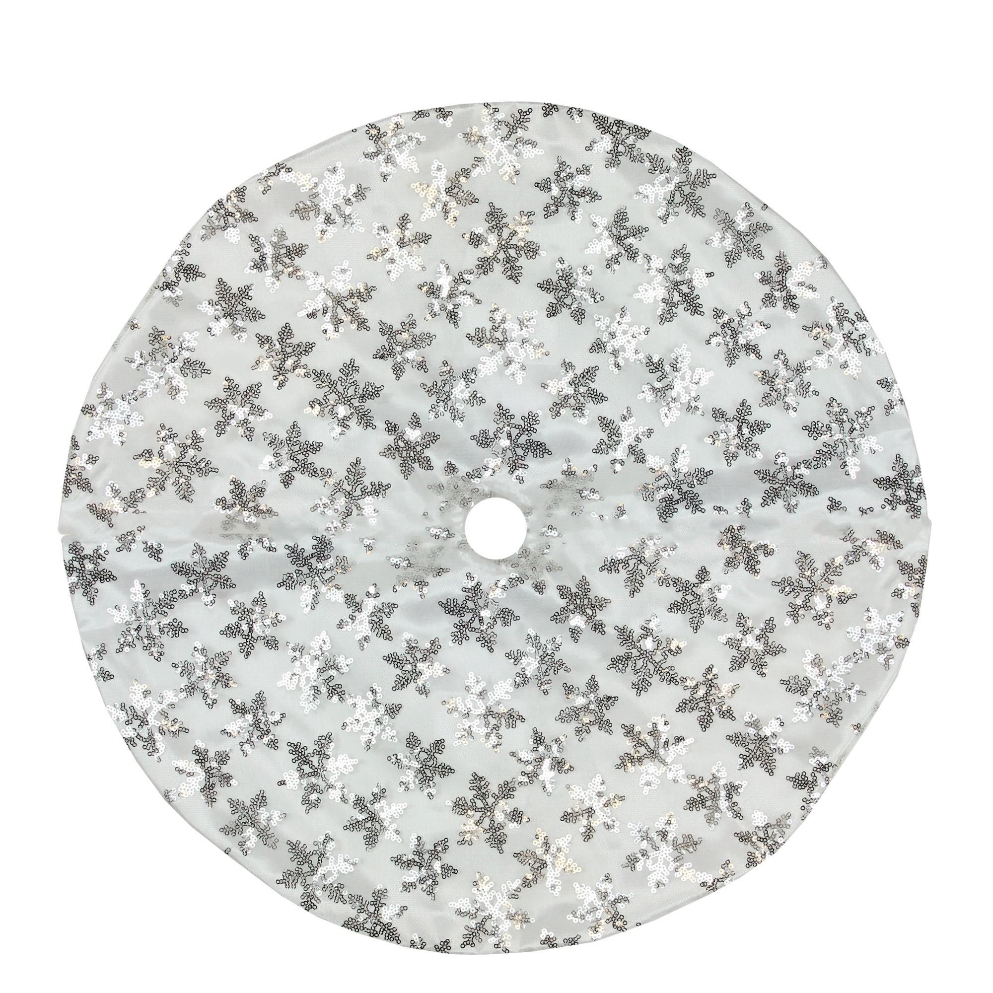 Mini Christmas Tree Skirt Pattern.20 White And Silver Sequin Snowflake Pattern Mini Christmas Tree Skirt