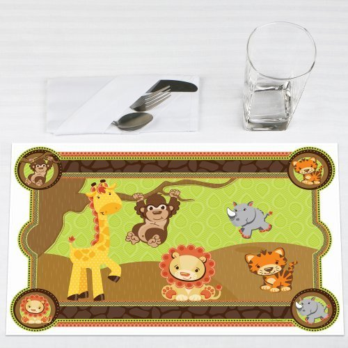 Funfari Fun Safari Jungle Party Placemats Set of 12 by Big Dot of Happiness, LLC