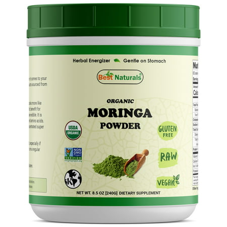 Best Naturals Certified Organic Moringa Powder 8.5 OZ (240 Gram), Non-GMO Project Verified & USDA Certified