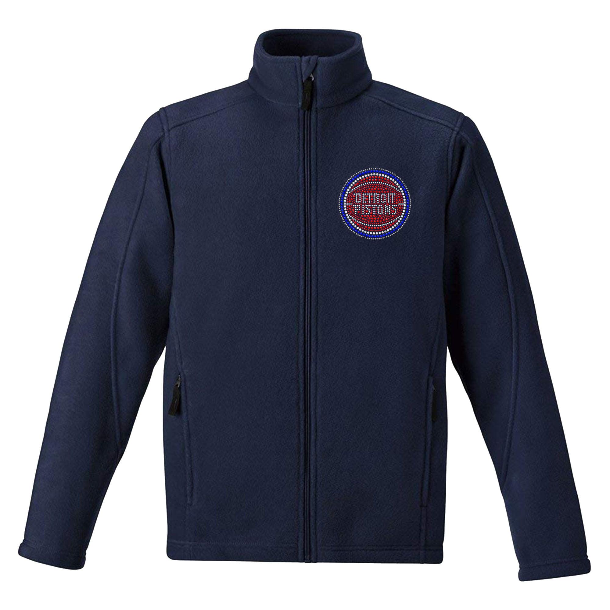 Detroit Pistons Women's Rhinestone Full-Zip Fleece Jacket - Navy