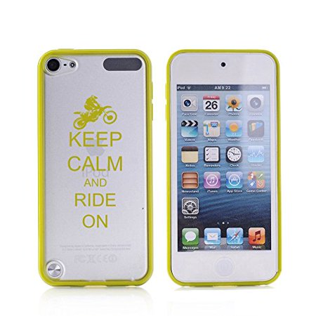 For Apple iPod Touch 6th Generation Transparent Clear Hard TPU Case Cover Keep Calm and Ride On Dirt MX Bike (Green