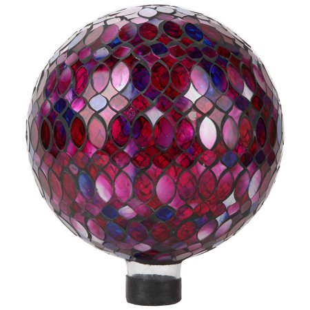 Lily's Home Colorful Mosaic Glass Gazing Ball, Designed with a Stunning Holographic Petal Mosaic Pattern to Bring Color to Any Home and Garden, Red, Blue & Purple (10 Inches Dia.) ()