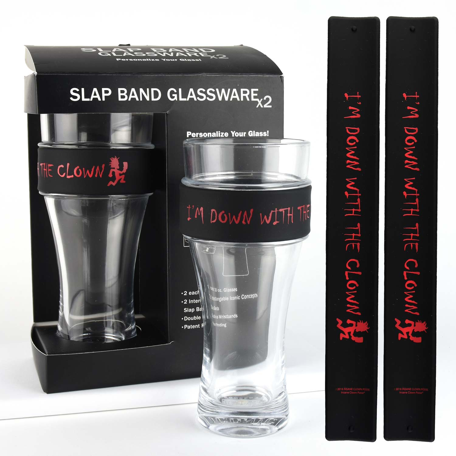 Insane Clown Posse 2 Pack Slap Band Glassware Black With Red Down With The Clown Grphic by Iconic