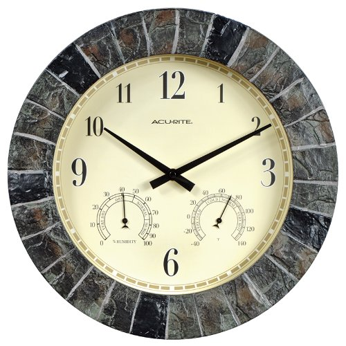 02418 14-Inch Faux-Slate Indoor/Outdoor Wall Clock with Thermometer, Hygrometer, 14Inch FauxSlate with Thermometer 02418 Wall Clock.., By AcuRite