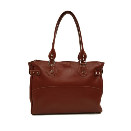 Piel Leather Large Ladies Side Strap Tote - Red