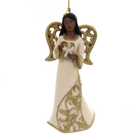 Holiday Ornaments BLACK ANGEL WITH GOLD WINGS African American E0205 Gift ()