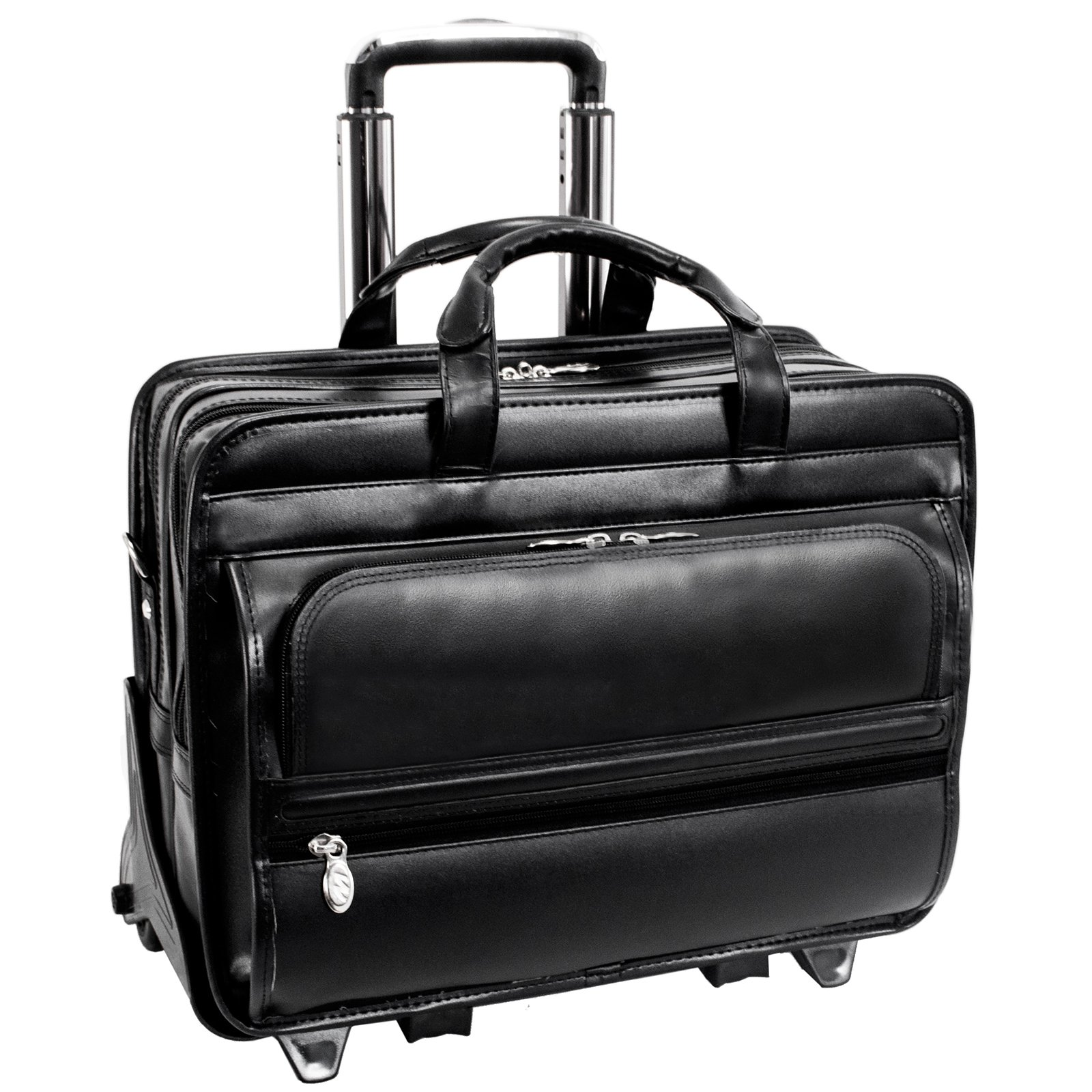 McKlein USA Franklin Leather 17 Inch Detachable Wheeled Laptop Case - Black