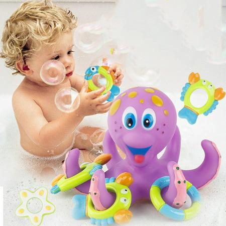Jeobest Baby Bath Toy - Baby Bathtub Toy - Baby Toy Bath Octopus Floating Tub Rings - Floating Bath Toy Baby Bathtub Toy Octopus Pool Floating Toy for Baby Kid