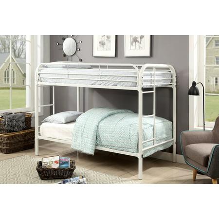Furniture of America Wade Full White Metal Bunk Bed