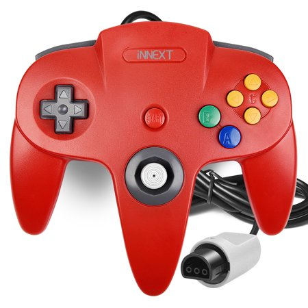 N64 Gaming Classic Controller, iNNEXT Retro N64 Wired Gaming Gamepad Controller Joystick for N64 System Home Video Game Console(Red)
