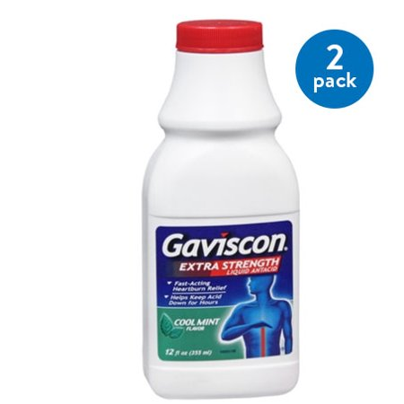 (2 Pack) Gaviscon Extra Strength Cool Mint Liquid Antacid for Fast-Acting Heartburn Relief, 12 fluid