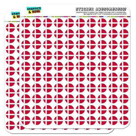 """Denmark National Country Flag 1/2"""" (0.5"""") Scrapbooking Crafting Stickers"""