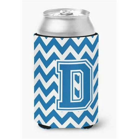 Carolines Treasures CJ1056-DCC Letter D Chevron Blue & White Can or Bottle Hugger, 0.25 x 4 x 5.5 in. - image 1 of 1