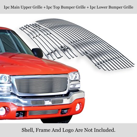 APS Compatible with 2003-2006 GMC Sierra 1500 2500 3500 & 07 Classic Stainless Steel Silver 8x6 Horizontal Billet Grille Insert Combo (Cut Out Aps Classic Billet)