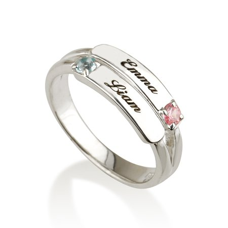 Mothers Ring Engraved Birthstone Ring 2 Stones Ring -925 Sterling Silver - Personalized & Custom Made