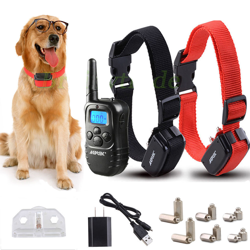 Agptek Rechargeable 2 Dogs Training Shock Collar 100 Level Electronic Electric Trainer by