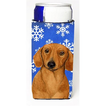 Dachshund Winter Snowflakes Holiday Michelob Ultra bottle sleeves For Slim Cans - 12 oz. - image 1 de 1
