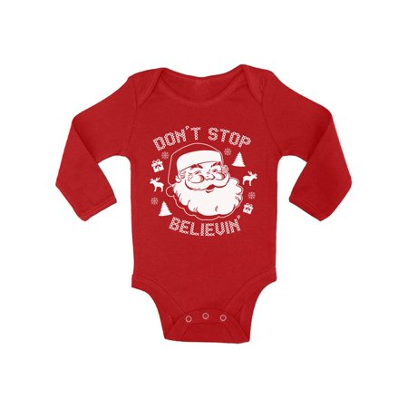 Awkward Styles Don't Stop Believin' Santa Kids Christmas Outfit Christmas Onesie Girl Christmas Onesie Boy First Christmas Clothes Prop Baby Infant Bodysuit Santa Reindeer Ugly Sweater Baby Contest - Santa Onesie