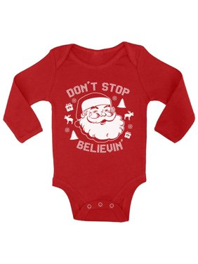 product image awkward styles dont stop believin santa kids christmas outfit christmas onesie girl christmas