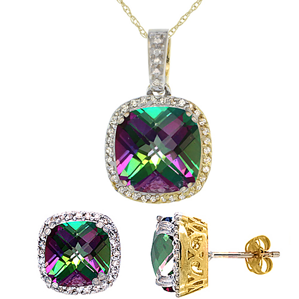 10K Yellow Gold Natural Cushion Mystic Topaz Earrings & Pendant Set Diamond Accents by WorldJewels