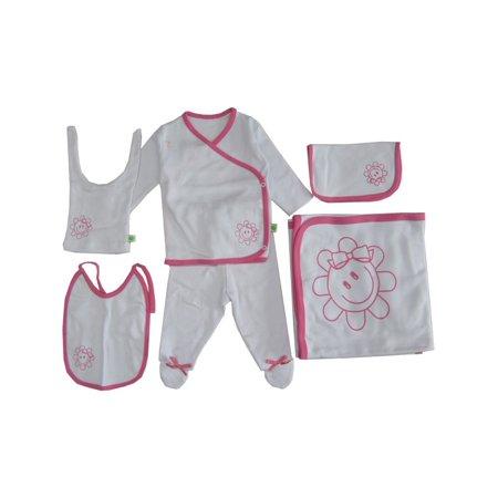 Baby Girls White Pink Flower Print Soft Organic Cotton 6 Pc Layette Set