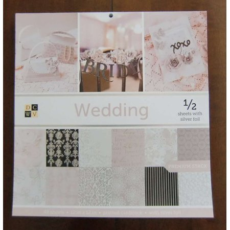 DCWV WEDDING Premium Stack 48 Sheets of 12 x 12 Printed Cardstock Scrapbooking