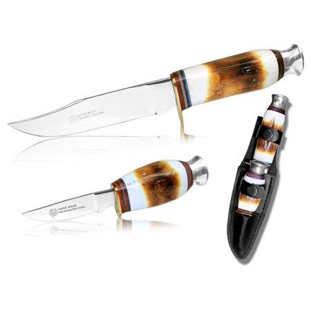 Hunting Knife Set | Stag Bone Handle Mirror Finish Blade Skinner 2 Pc. + -