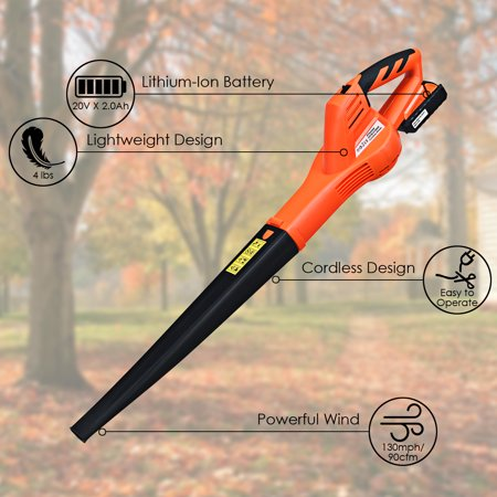 Costway 20V 2.0Ah Cordless Leaf Blower Sweeper 130 MPH Blower Battery & Charger Included - image 2 of 10