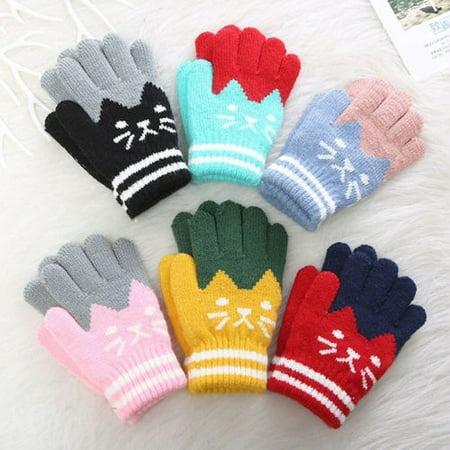 - Cute baby boy girl winter warm cartoon cat Imitation Cashmere gloves