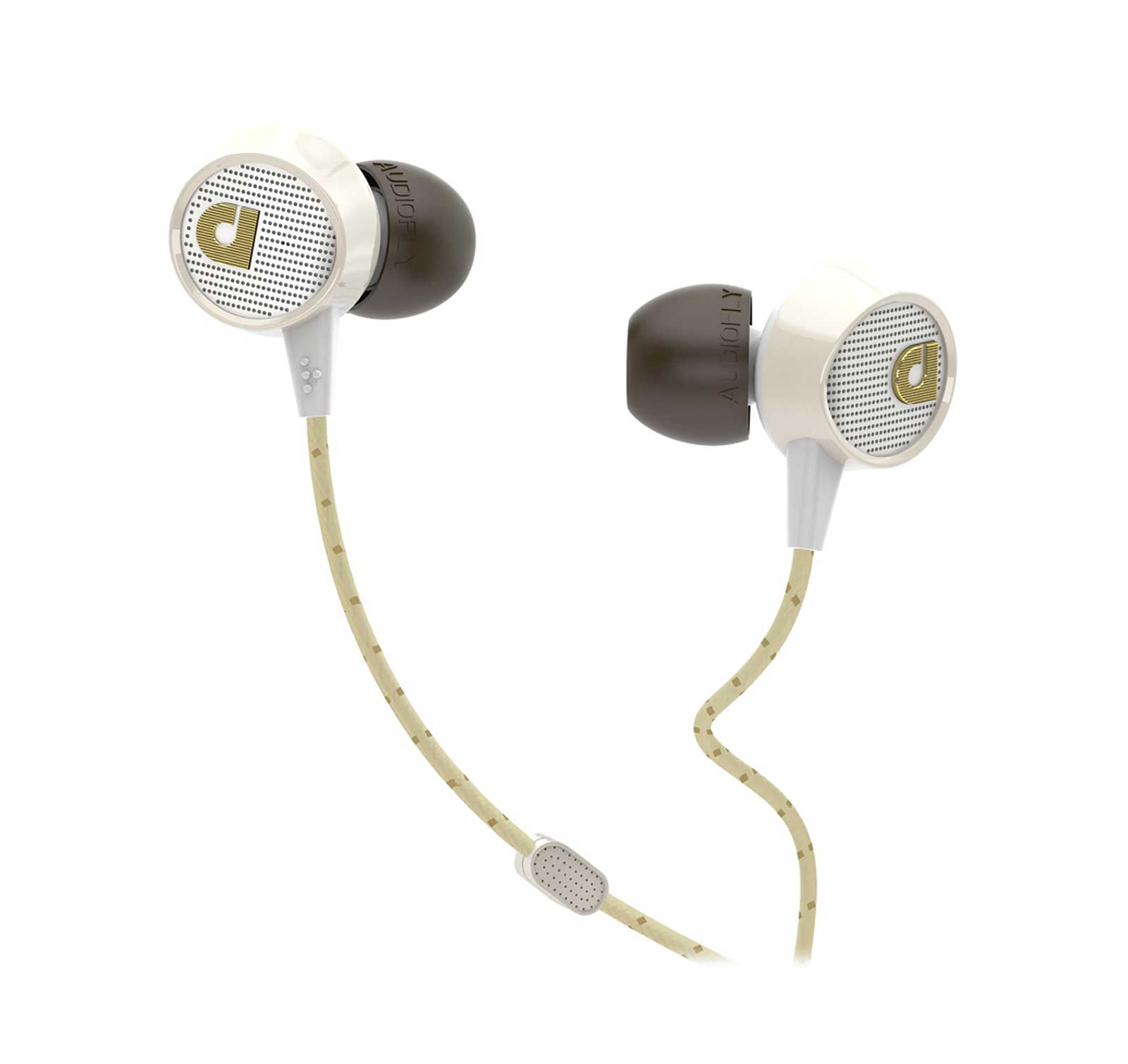 Audiofly AF56 Edison Vintage White In-ear headphones with Clear-Talk Mic