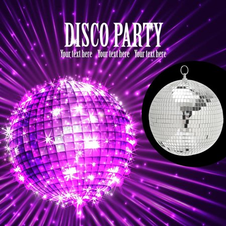Glitter Lightweight Sliver Mirror Disco Dance Party DJ Ball Mirrored Glass with ring (Disco Glass Mirror)