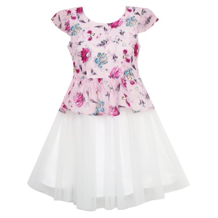 Girls Dress Flower Detailing With Tulle Overlay Pink 7