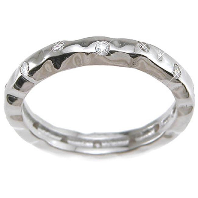 Plutus kkr6429b 925 Sterling Silver Rhodium Finish CZ Brilliant Fashion Wedding Band Size 7