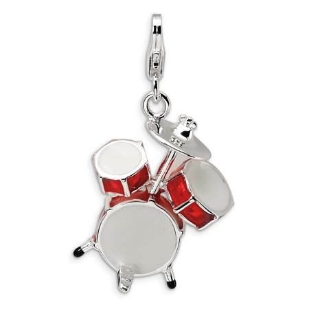 925 Sterling Silver Rh 3 D Enameled Drum Set Lobster Clasp Pendant Charm Necklace Musical Gifts For Women For Her