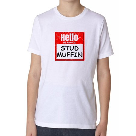 Stud Muffin Tee (Hello My Name Is Stud Muffin - Red Name Tag Boy's Cotton Youth T-Shirt )