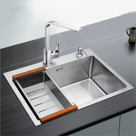 Wedlies 23.62\'\' Stainless Steel Handmade Top Mount Single Bowl Basin  Kitchen Sink Home