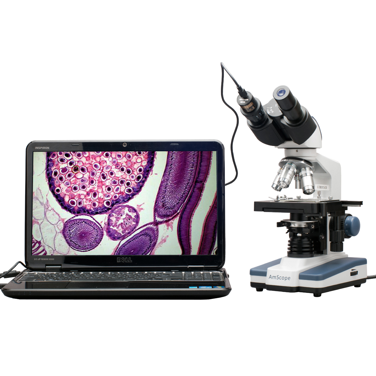 AmScope 40X-2000X LED Digital Binocular Compound Microsco...