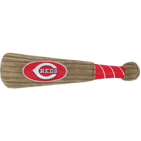 MLB CINCINNATI REDS BAT TOY for DOGS & CATS. 29 MLB Teams available. - Plush PET TOY with inner SQUEAKER. Officially Licensed Baseball - Pet Bat