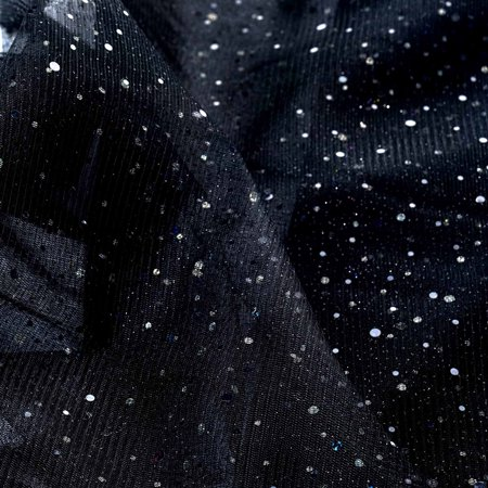 - Sparkly Sequin Dot Sheer Tulle Fabric Black- 54